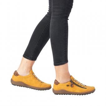Remonte Sneaker Scnürer Leder Tex Reißverschluss gelb softfoam R1402-68