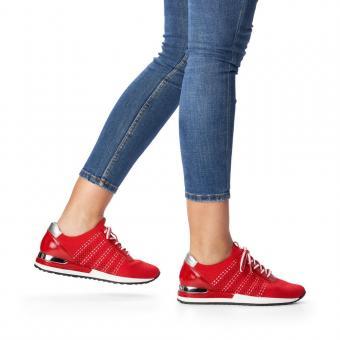 Remonte Sneaker Schnürer Metallic Lack rot R2507-33
