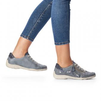 Remonta Sneaker Schnürer Leder Reißverschluss blau kombi R3416-14