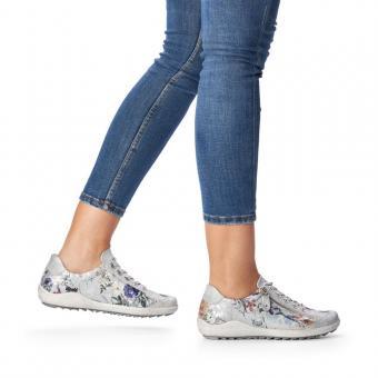 Remonte Sneaker Schnürer Reißverschluss Leder grau geblümt softfoam R1402-90