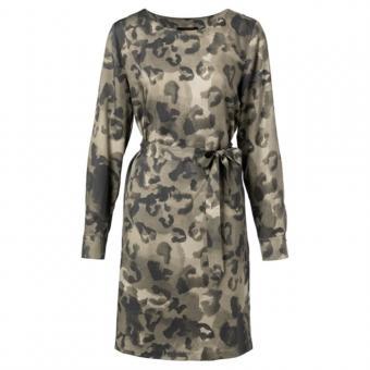 YAYA Kleid Leopardenmuster 1801134-923 42   DEEP GREEN DESS  