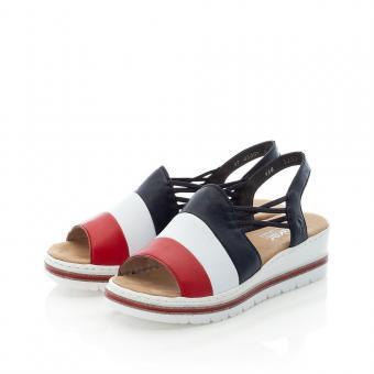 Rieker Sandale Antistress Gummizug Keil bunt V58S1-33